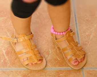 Children Leather Sandals,kids sandals, Girl and Boy Sandals Boho, Tie up Leather Sandals, Genuine Leather Kids Sandals, Sandals for Children