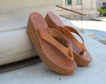 faa96cc12 Leather wedges flip flops,Leather sandals,Cork wedge platform,Greek leather  sandal,Platform sandal,Natural beige sandals,Greek Women sandals