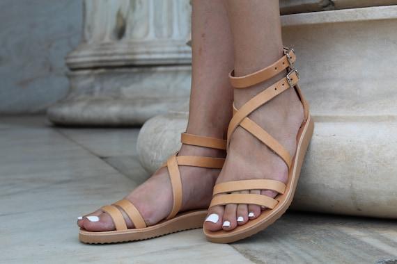 Natural beige sandals, Leather Women sandals, Greek leather sandals, Ankle cuff sandals, Ancient sandals,Handmade sandals, Women Platforms