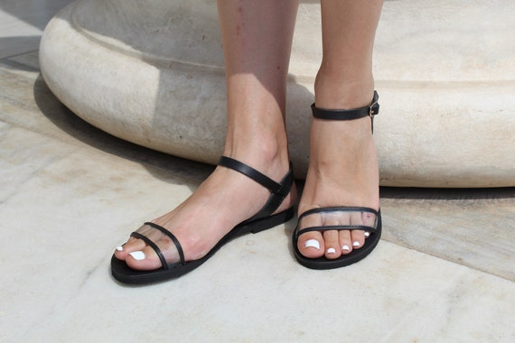 Women sandals strap slides Classic See sandals leather sandals Leather PVC Women sandals leather transparent flat Leather ankle through qwH0XY