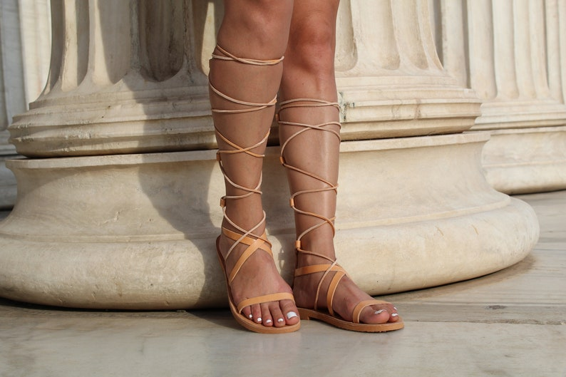 cd2c27ea814 Leather gladiator sandals Greek sandals for women Lace up