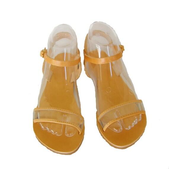 cuir femme plates cuir sangle beige de cheville sandales cuir voir classique PVC Sandales transparent en sandales qYTRRP