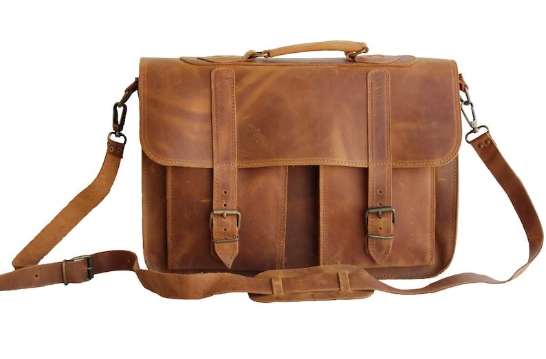 66a9083f7d 15inch leather briefcase Leather messenger bag Messenger bag