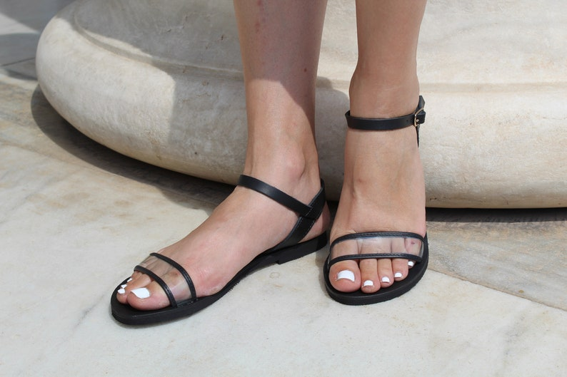 Classic leather sandals,Leather PVC ankle strap sandals,Women transparent leather flat sandals,See through slides Leather Women sandals