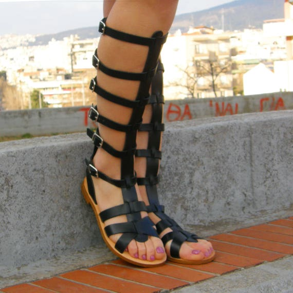 4e27234c8 Spartan black sandals Leather gladiator sandals Greek
