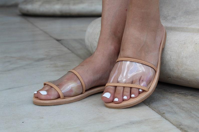 904c4e3fd60f6 Women transparent leather flat sandals,See through slides, Leather PVC  slides, Classic leather sandals, Greek sandals for women, Women PVC