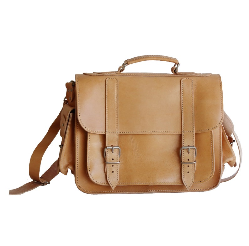 45e7564cb9 15 inch leather messenger bag Leather briefcase Shoulder