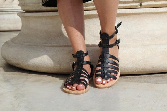 leather women sandals sandals sandals Gladiator Greek Women Handmade Black Leather sandals Greek sandals Ancient Black sandals sandals gT1Cwqx