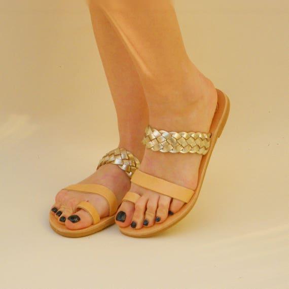 Greek Sandals Ancient women Greek ring sandals Braided Handmade Golden sandals Toe Leather leather Women sandals for sandals sandals CqXw4qT