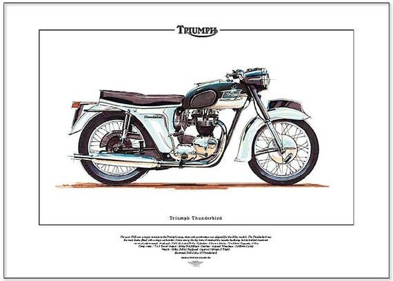 Etsy Di Triumph Thunderbird Motocicletta Moto Stampa Artistica 7gZgwq