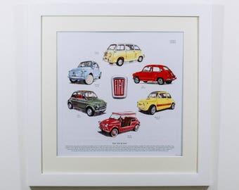 CLASSIC FIAT 500 & 600 Fine Art Print (includes 595 Abarth Nuova Multipla Jolly)