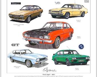 Ford Capri Mk1 - Fine Art Print (2000GT 3000GT Perana V8 RS3100 Broadspeed Bullit)