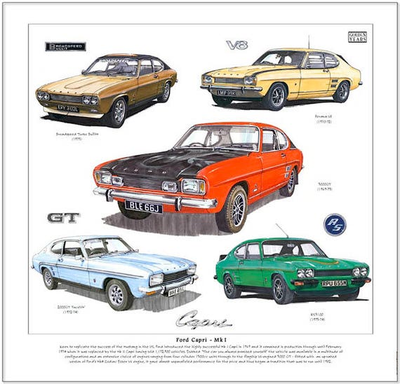 Ford Capri Mk1 Fine Art Print 2000GT 3000GT Perana V8
