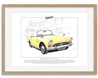SUNBEAM ALPINE Mk1-V 1959-68 - Rootes Sports Car - Print by Golden Era (A4 size)