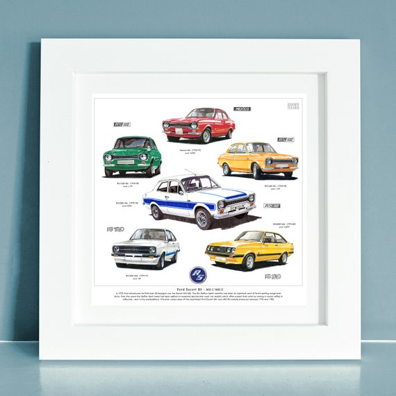 ESCORT RS COSWORTH CAR ART PERSONALISE IT! SIZE A3