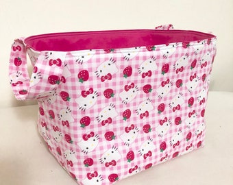 Hello Kitty Strawberries And Gingham Fabric Bin Organizer Basket Toy Home Decor Nursery Sanrio Cats