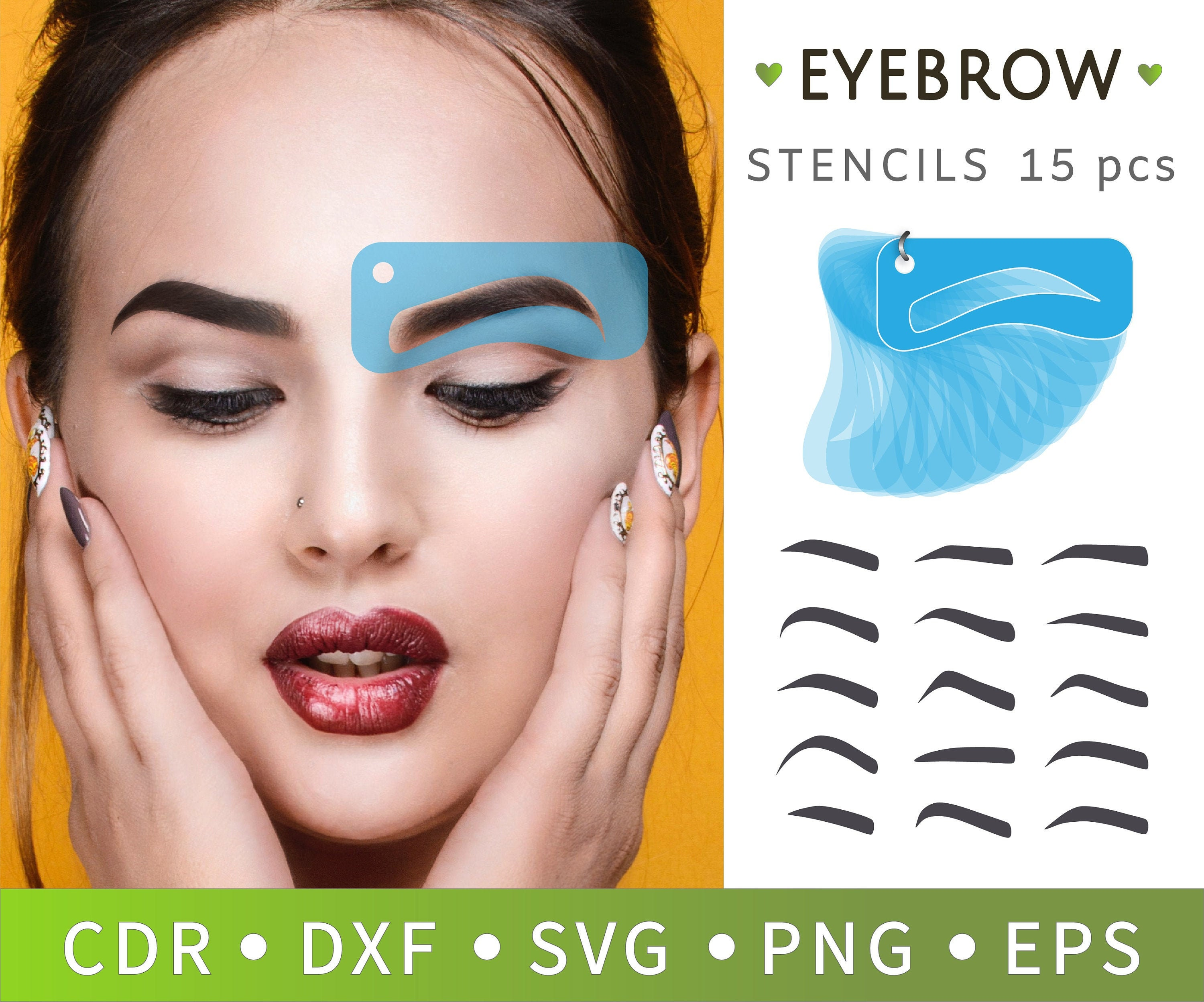 image about Printable Eyebrow Stencil titled 15 Make-up stickers, Confront stickers, Laser reduce vector, Tailored make-up, Eyebrow stencil SVG, Printable stencil, Facial area elegance make-up resource