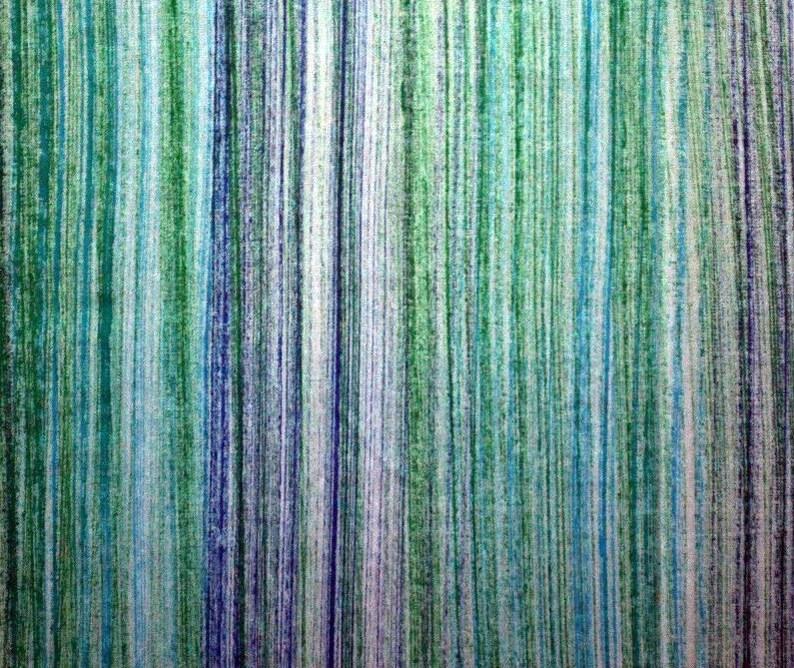 Malyasian Hand Painted Artisan Fabric  Linetropic Olive Aqua image 0