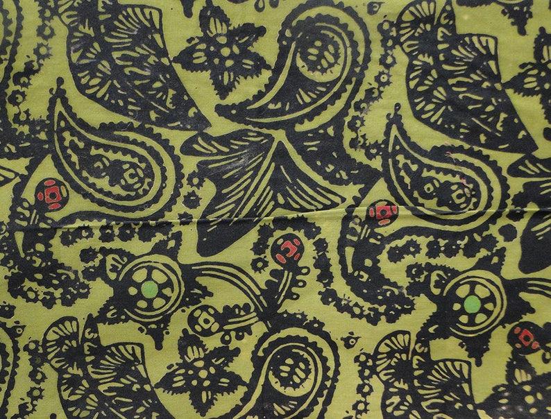 Malaysian Artisan Batik Fabric: Jewel  Paisley Leaf image 0