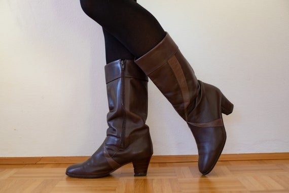 1970s Brown Leather Boots | Vintage Ara Leather Bo