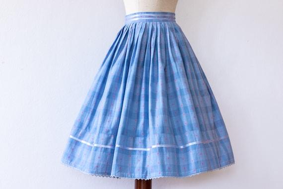 Floral 1950s Folklore Skirt   Vintage Pleated Skir