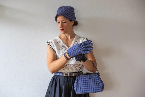 1950s Tweed Hat-Gloves-Handbag-Belt | Vintage Blu… - image 3