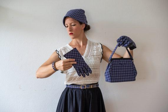 1950s Tweed Hat-Gloves-Handbag-Belt | Vintage Blu… - image 1