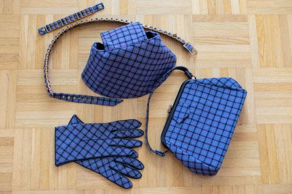 1950s Tweed Hat-Gloves-Handbag-Belt | Vintage Blu… - image 5