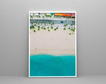 Beach Print, Digital Download, Contemporary Beach Wall Art,Sea Poster, Aerial Beach Print, Busy Beach Poster, Modern Beach Photography, Sand