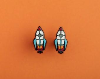 Always Explore Space Rocket Hard Enamel Stud Earrings