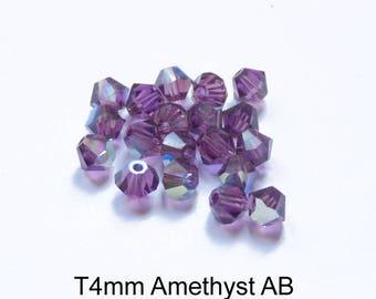 4xT4mm Austrian Crystal, various purple colors