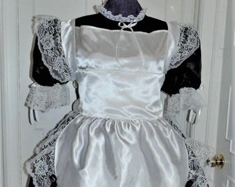 Maid Costume Outfit Dress, Black, Lolita, Sissy, Adult Baby, Cross Dresser, Custom Made, Apron