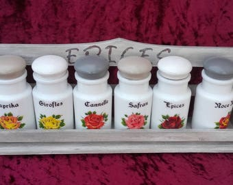 Spice jars with rack