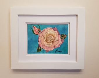 Rosa... Original still life in oil, varnished and ready to frame.