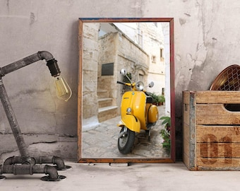 Yellow scooter print, Vespa print, Italy, fine art print, wall art, wall print, travel photo, scooter poster
