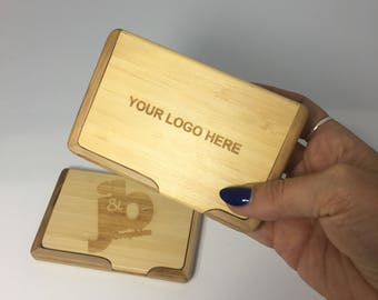 custom bamboo engraved business card case