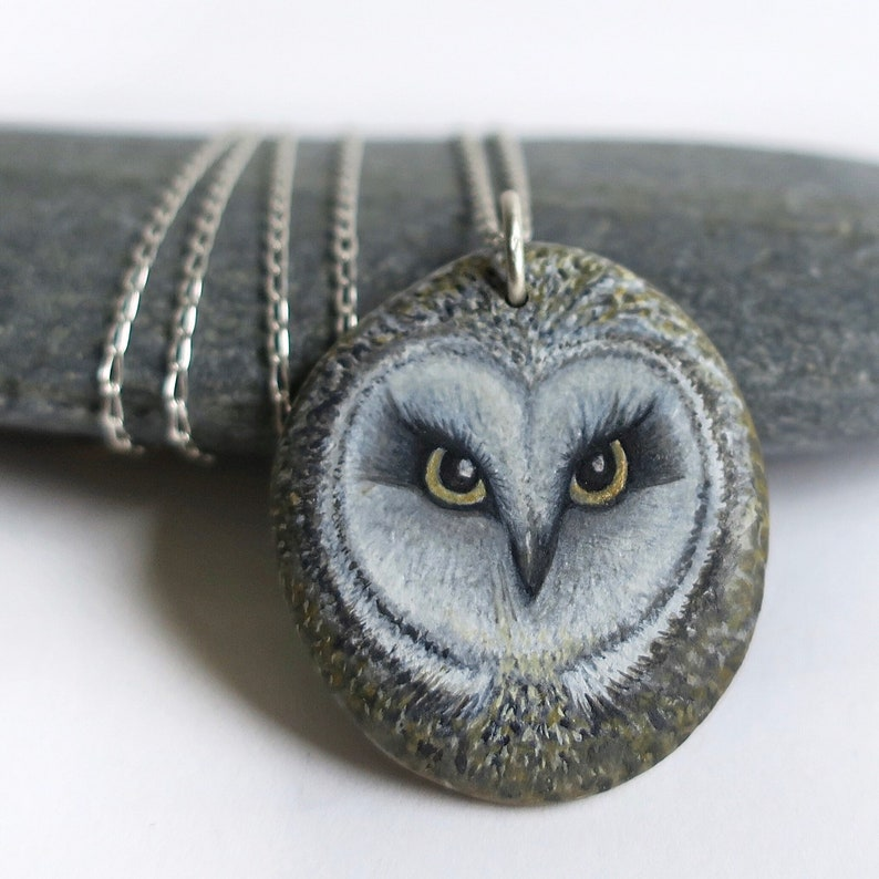 Painted stone pendant OWL  OWB 021  acrylic sterling silver image 0