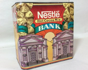 Nestle Hot Cocoa Mix 1980s Collectible Tin Bank - Very Nice!