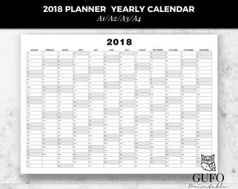 2018 planner yearly calendar printable planner calendar 2018 monthly schedule weekly agenda a1 a2 a3 a4 daily organizer poster wall calendar