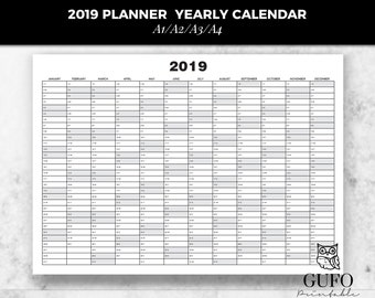 2019 planner yearly calendar printable planner calendar 2019 monthly schedule weekly agenda a1 a2 a3 a4 daily organizer poster wall calendar
