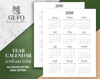 year calendar printable 20182019 year at a glance yearly agenda half letter size filofax a5 a4 sunday startmonthly planner