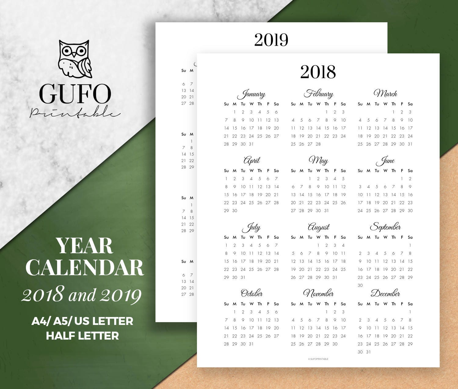 year calendar printable 2018 2019 year at a glance yearly etsy