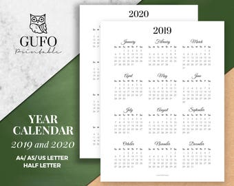 Year Calendar Printable 2019-2020, Year at a Glance, Yearly Agenda, Half Letter Size, Filofax A5, A4, Black White, Sunday Start