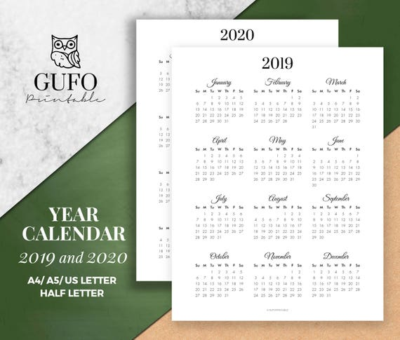 Modern 2019 2020 Mid Year Diary: Year Calendar Printable 2019-2020 Year At A Glance Yearly