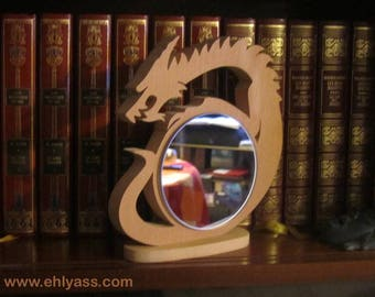 Sculpture Dragon wooden mirror of beech wood on base made of fretwork