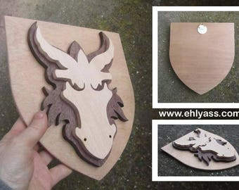 Solid wood wall sculpture DRAGON Crest