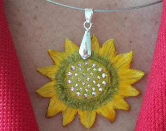 "Sun-shaped necklace with Swarovski elements.""I find my happiness where the sun shines"". Material - polymer clay. Size - 10x5cm /all sizes/"