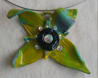 "Necklace with Swarovski elements .""I sit before flowers hoping they'll train me in the art of opening up"". Material-polymer clay. Size- 10x5"