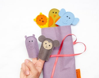 Set of 5 Safari animal finger puppets, Simple wool felt miniature Jungle animals for roleplaying