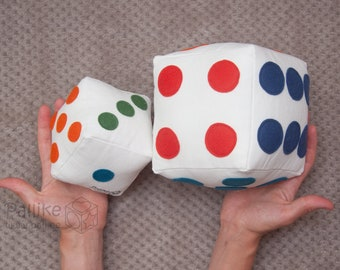Big Soft D6 Dice | Colorful Plush Dice with 2 size options | Handmade 6 sided Game Dice with color options